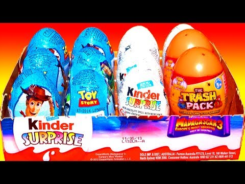 12 Surprise Eggs Toy Story Kinder Surprise Eggs Unboxing Disney Pixar Easter Madagascar 3 Trash Pack